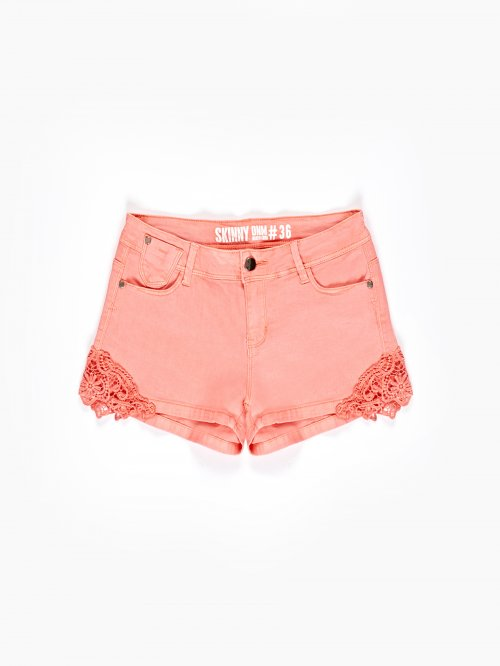 Stretch shorts with lace detail