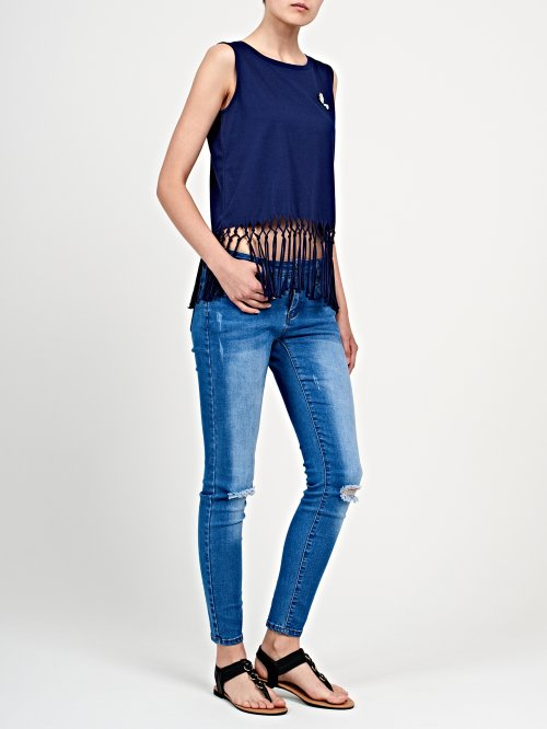 Top with tassels and badges
