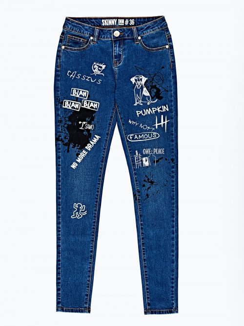 Printed skinny jeans in light blue wash