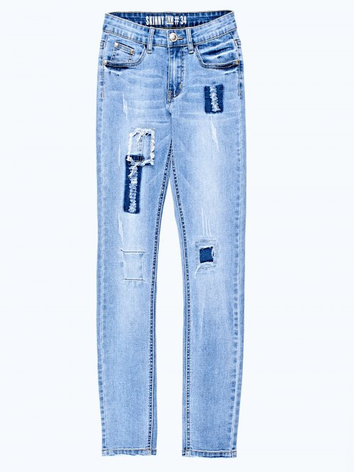 Patch skinny jeans in mid blue wash