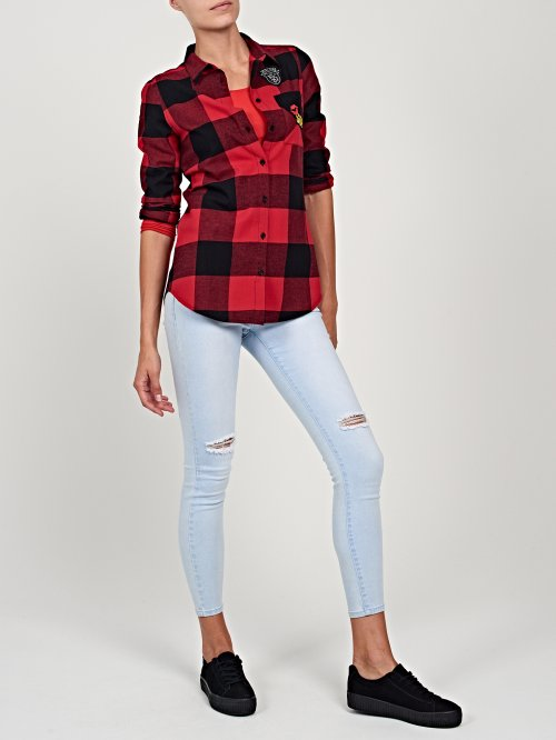Plaid cotton shirt with patches