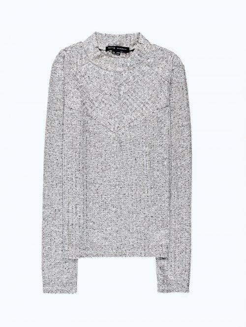 Rib-knit metallic t-shirt