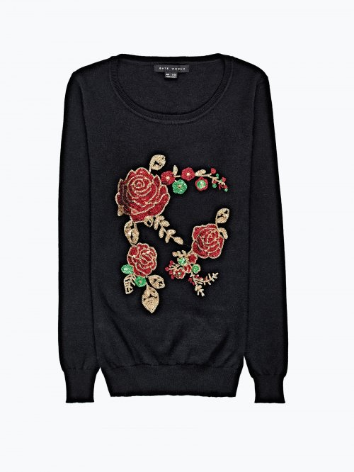 Sequin flower sweater