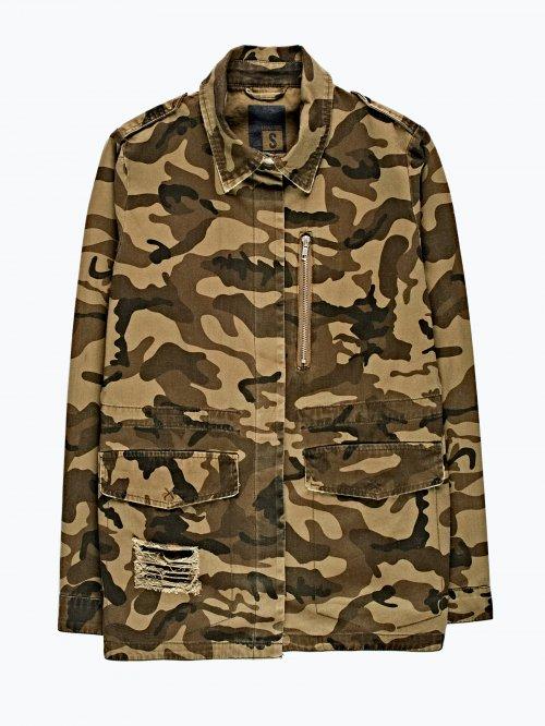 Camo print cotton jacket