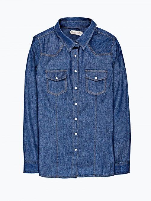 Denim shirt in dark blue wash