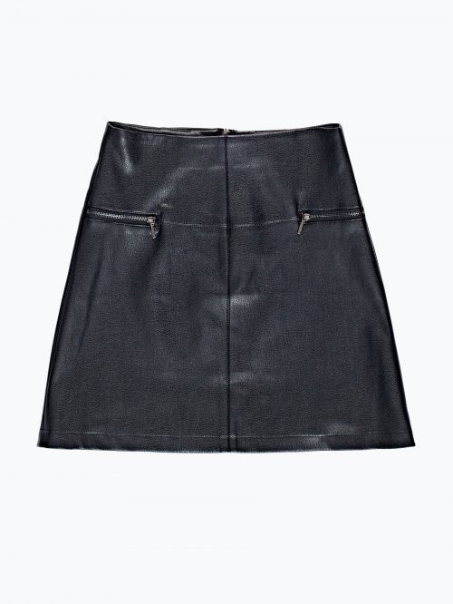 Faux leather skirt with zippers