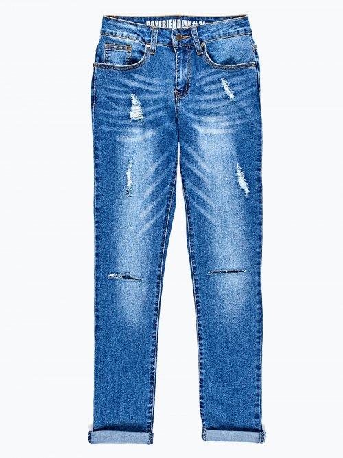 Damaged boyfriend jeans in mid blue wash