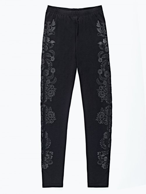 Leggings with floral print detail