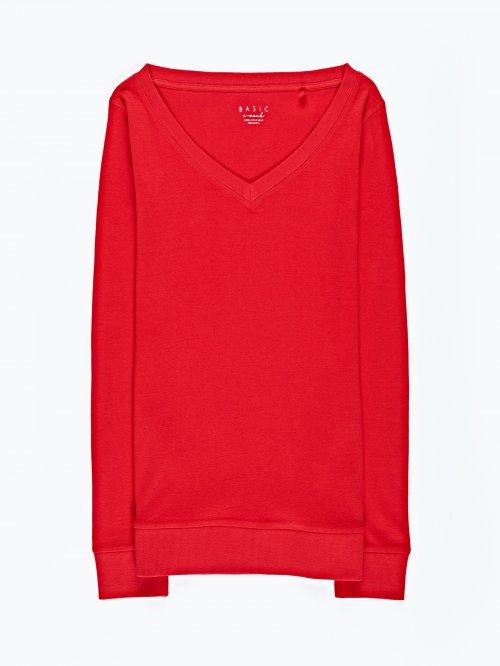 Basic rib-knit v-neck t-shirt