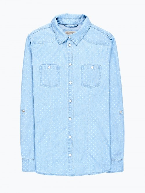 Polka dot print denim shirt in light blue wash