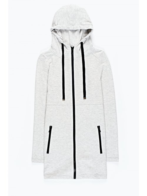Prolonged zip-up sweatshirt with hood