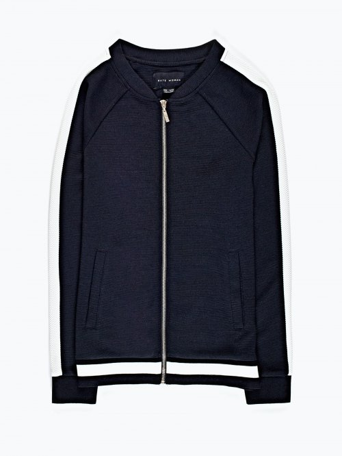 Zip-up bomber sweatshirt with contrast stripe