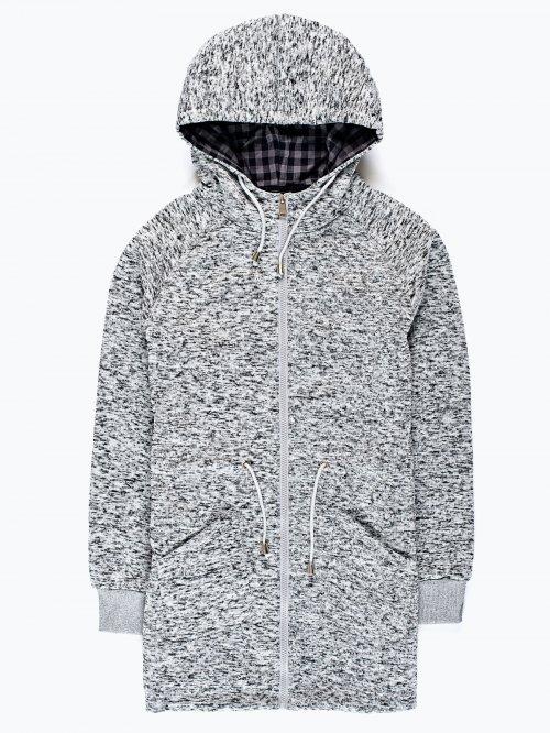 Grey marl knit parka jacket with hood