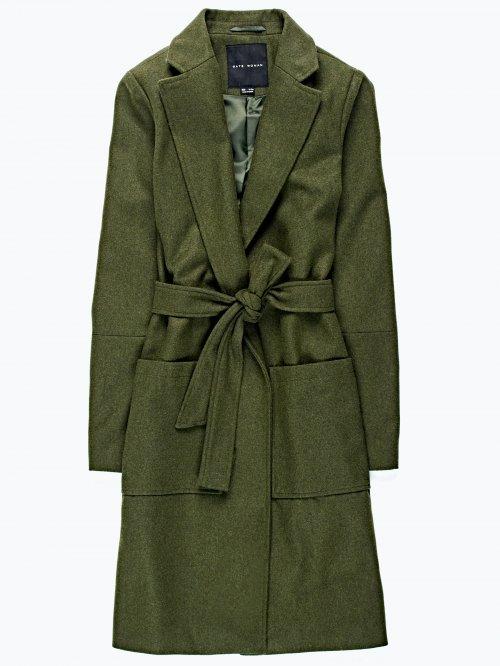 Longline coat in wool blend