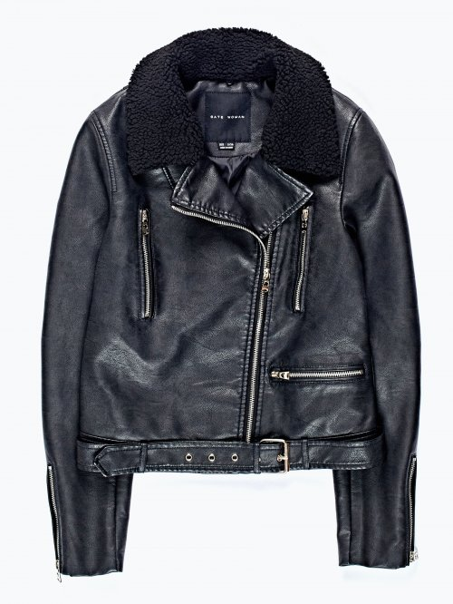 Faux leather aviator jacket with removable collar