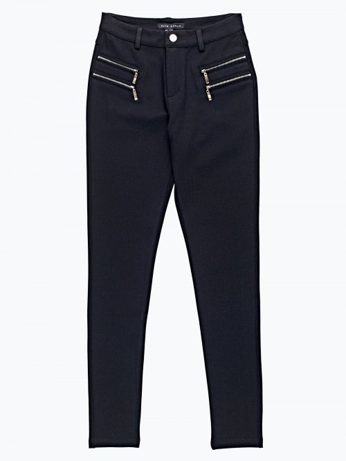 Stretch trousers with zipper details