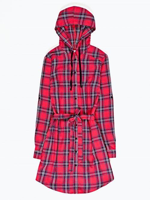 Plaid shirt dress with hood
