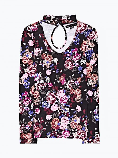 Floral print choker neck top