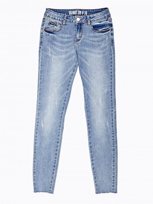 Distressed skinny cropped jeans in light blue wash