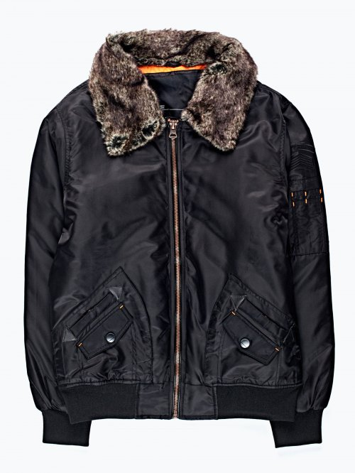 Padded bomber jacket with removable faux fur collar
