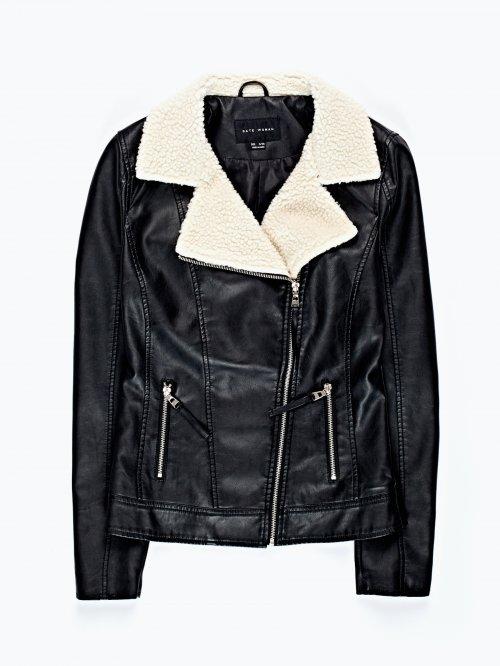 Faux fur lined faux leather biker jacket