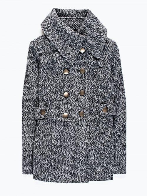 Pea coat in grey marl
