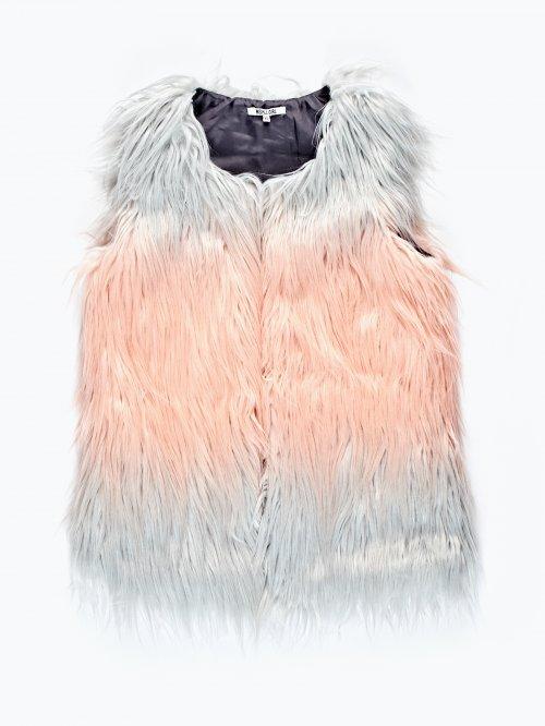 Two tone faux fur waistcoat
