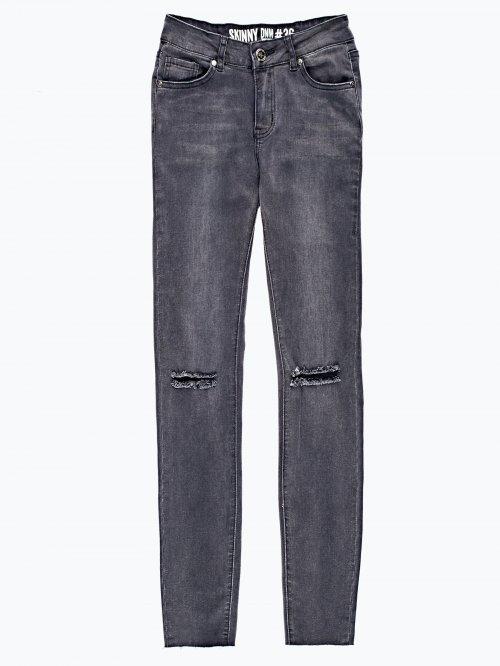 Ripped knees skinny jeans in dark grey wash