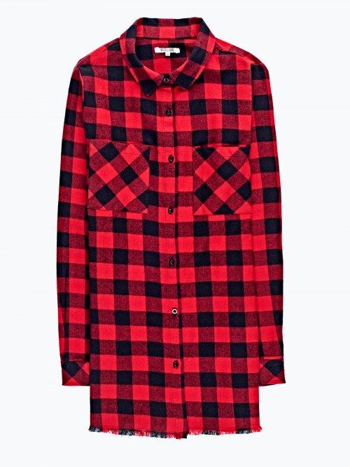 Checked shirt with raw hem