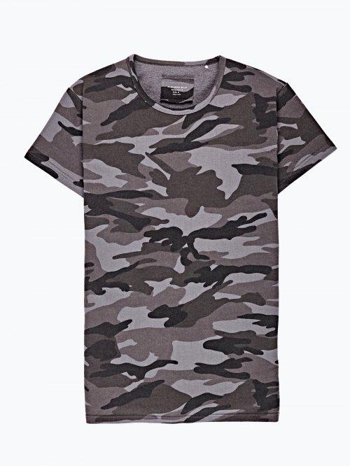 Camo print terry t-shirt