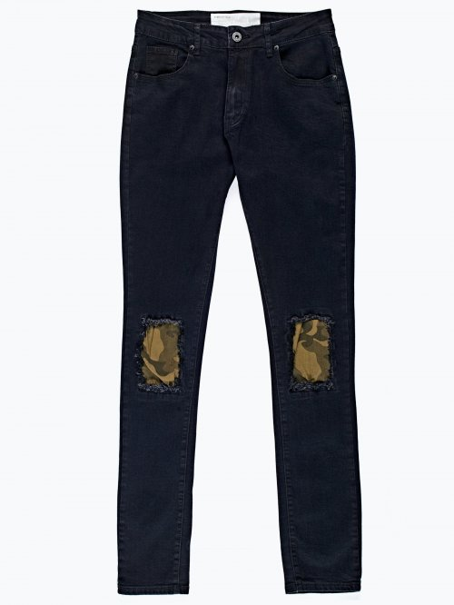 Ripped and patch knees slim fit jeans