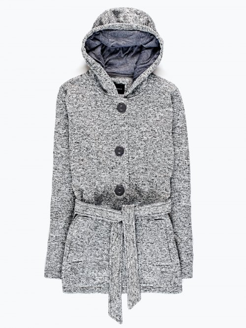 Hooded marled jacket with belt