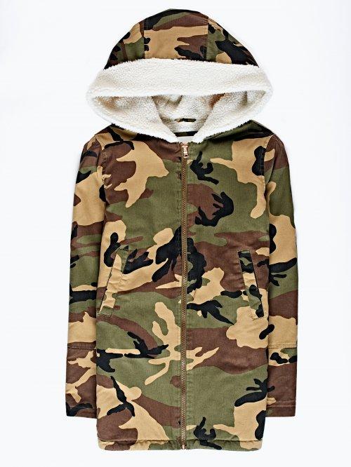 Camo print pile lined oversized jacket