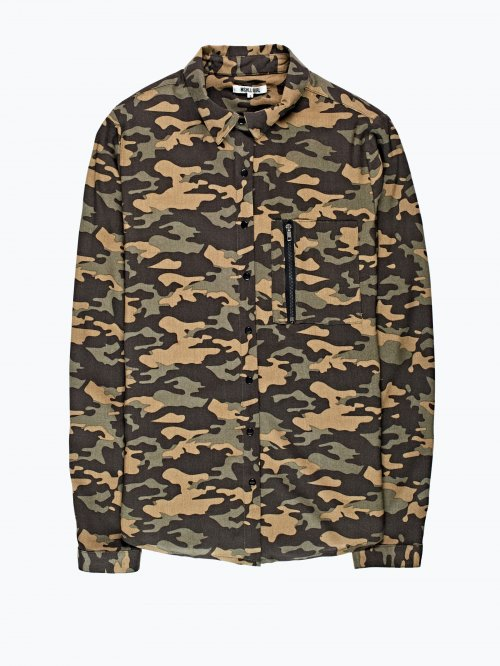 Camo print viscose shirt