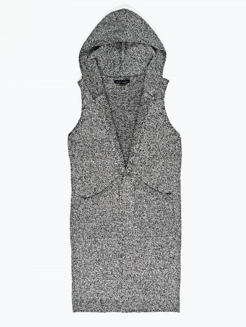 Longline knitted waistcoat with hood