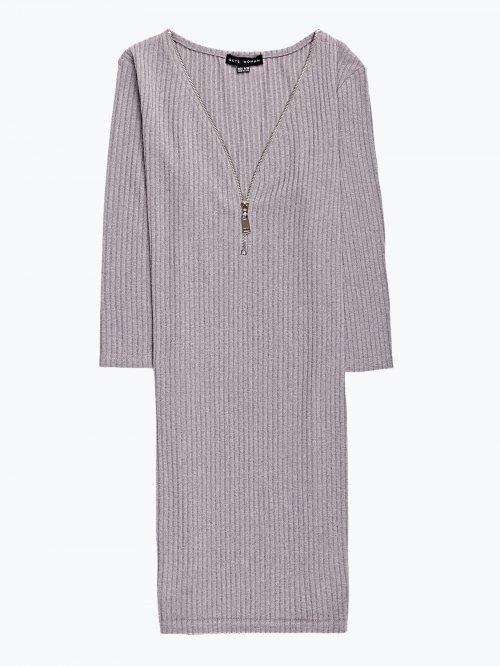 Rib-knit dress with front zipper