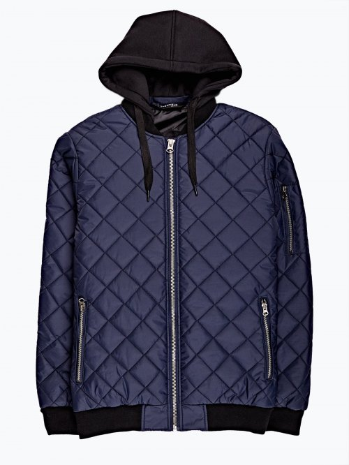 Quilted bomber jacket with removable hood