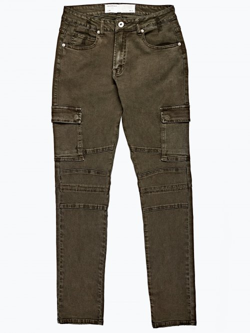 Slim cargo trousers with zippers