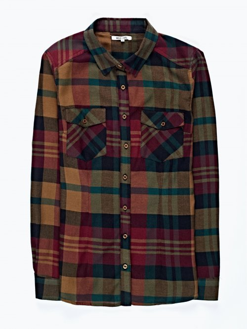 Checked cotton shirt with pockets