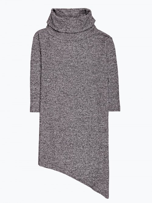 Roll neck top with asymmetrical hem