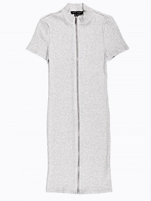Rib-knit zip-up pencil dress