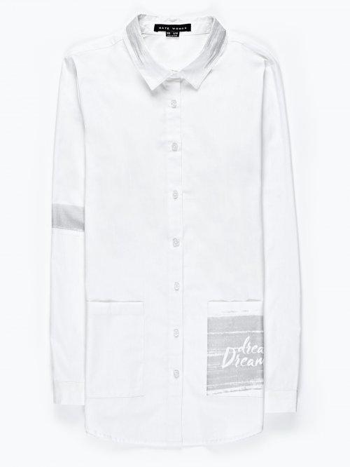 Prolonged cotton shirt with metallic print