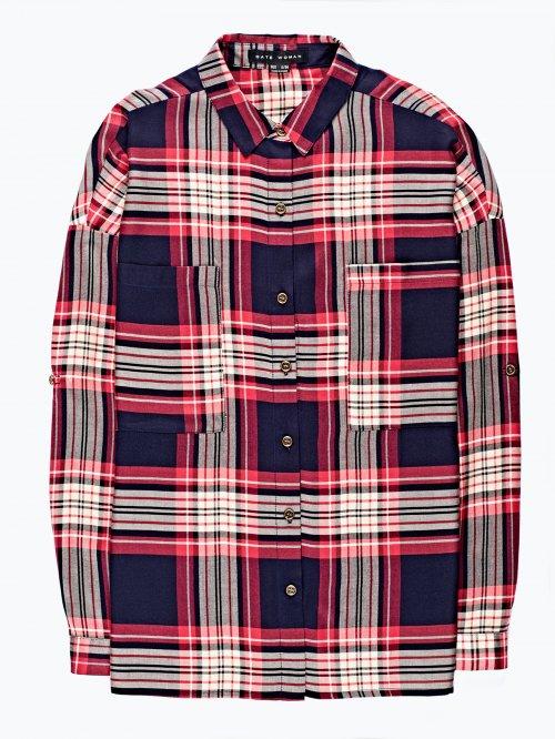 Oversized checked viscose shirt