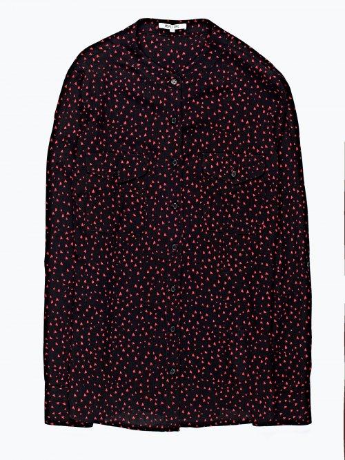 Hearts print viscose blouse