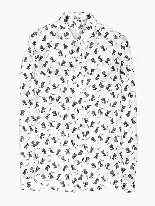 Cats print viscose shirt