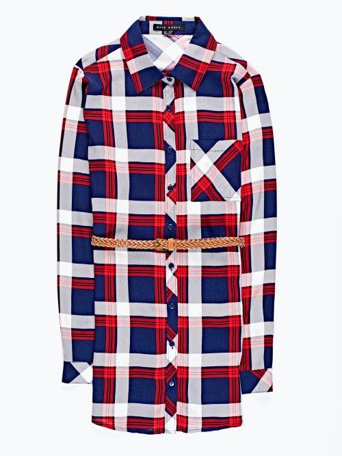Prolonged plaid shirt with belt