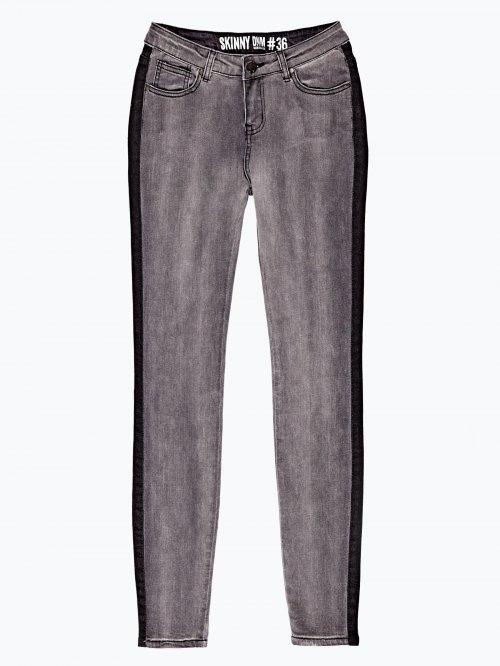 Skinny jeans in dark grey wash with side stripe