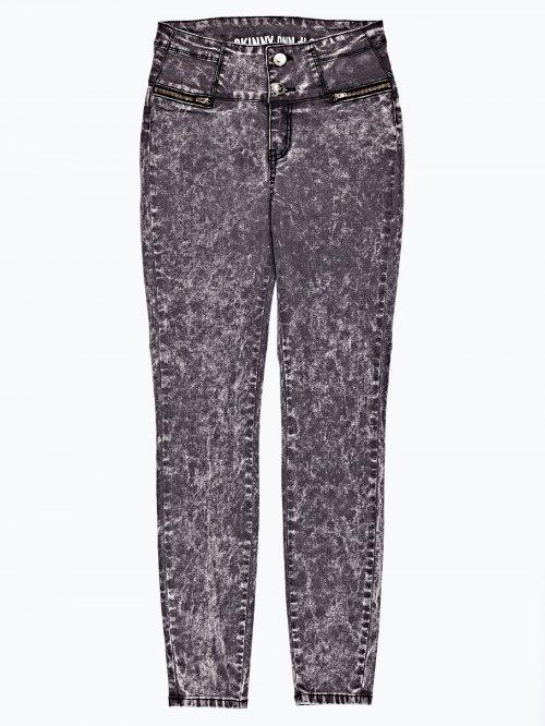 High waist skinny jeans in black snow wash