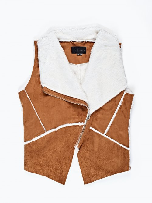 Pile lined zip-up waistcoat