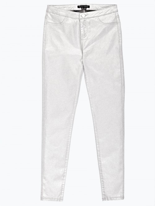 Silver metallic skinny trousers